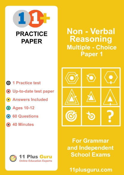 11+  Non-Verbal Reasoning  MCQ Practice Test  Paper 1