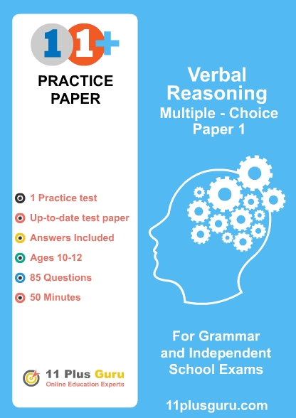 11+  Verbal Reasoning  Multiple-Choice Practice Test  Paper 1